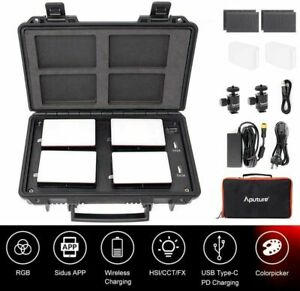 Aputure MC 4-Light Travel Kit Portable LED RGB Lights 3200-6500K Charging Case