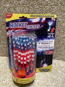 AS SEEN ON TV Rocket Copters Slingshot 6 Light copters 3 Launchers  US FLAG