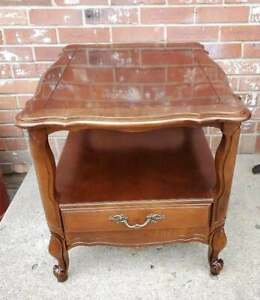 Vintage Hammary French Provincial End Table Solid Cherry 2 Tier 1 Drawer