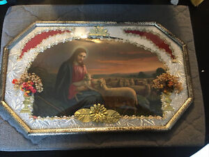 Vintage Mid Century Jesus Tends His Flock Framed Picture