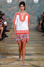 Tory Burch Isla Embroidered Stretch $350 Tunic  6 S M Swim Runway Cover Up