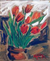 Felix Pfefferkorn *1945: Stilleben Tulpen Blumen 1974 expressiv Blumenstrauß