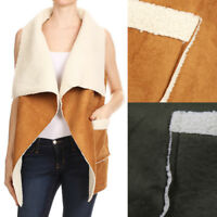 Ellie & Kate Women's Camel Brown Olive Faux Suede Sherpa Lined Vest S M L XL