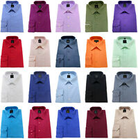Mens Plain Shirts Cotton Rich Easy Care Classic collar Formal Casual Long sleeve
