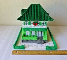 Vintage Plastic Canvas Christmas Village Green House Green Roof Porch Handmade