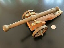 Vintage Brass Signal Cannon w/ Brass Wheels & Oak Wood Carriage One of a Kind