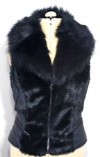 GUESS Jacket Vest - Woman's Black Faux Leather and Fur Collar - Zipper - Size M