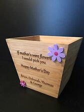 Personalised wooden Plant Pot. Mother's Day, Father's Day, Christmas Gift
