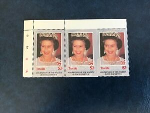 TUVALU 1986 MNH QUEEN ELIZABETH 60TH BIRTHDAY ROYALTY PERFORATION ERROR