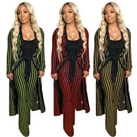 Women Stripe Print Belted Long Coat + Long Pant Casual Club Jumpsuit Outfits 2pc