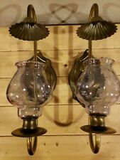 Vintage Homco Pair Brass Metal Wall Sconces Candle Holders W/Smokey Votive Cups