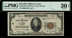 """1929 $20 Federal Reserve Bank Note - St. Louis - """"Star"""" FR.1870-H* - PMG 30 EPQ"""
