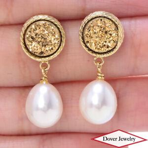 Italian Pearl Druzy 14K Gold Rope Twist Detail Dangle Earrings NR