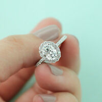 solid real 14k white gold 2 carat oval cut diamond engagement wedding halo ring