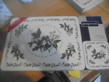BNWT Portmeirion Holly and Ivy   boxed placemats x 6 and 6 coasters