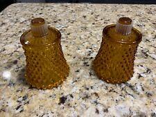 2 Homco Honey Amber Glass Diamond Point Peg Votive Candle Holders w/ Grommets