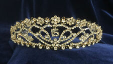 """Crystal Rhinestones Sweet15 Quinceanera Gold Plated Tiara W/Combs.1.75"""" Tall"""
