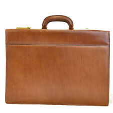 Authentic BALLY Logos Business Briefcase Hand Bag Leather Brown Italy 05EK998