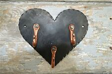 BEAUTIFUL ARTS AND CRAFTS STYLE WROUGHT IRON HEART WITH COPPER HOOKS KEY HOOK