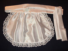 MAIDS/SISSY/ADULT BABY/ SATIN APRON WITH RIBBON & LACE TRIM