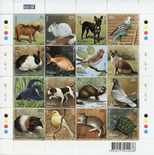 More details for malta pets stamps 2006 mnh domestic animals cats dogs goldfish turtles 16v m/s