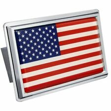 "U.S. Flag Chrome Stainless Steel 1.25"" Trailer Tow Hitch Cover"