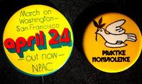 2 BUTTONS -PEACE ACTION COMM.  MARCH AGAINST VIETNAM WAR - ORIGINAL PINBACKS