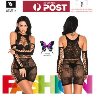 Fashion Women Sexy Lingerie Butterfly Hollow Babydoll Bodysuit Sleepwear Skirt