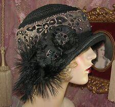 1920'S VINTAGE STYLE BLACK & GOLD VELVET FLOWER FEATHER CLOCHE FLAPPER HAT