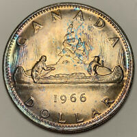 1966 CANADA SILVER DOLLAR PROOF FLAWLESS TONED NEON GREEN COLOR UNC BU GEM (DR)