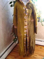 Womens Wool Coat Handmade One of a kind Olive Green Size S/ M Full Lenghth Hood