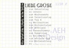 AEH Design Gummistempel 1158F - Liebe Grüße Geburtstag Ostern Hochzeitstag ...