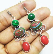 "55ct Dangle Earring Coral & Rainbow Calisica Gemstone 925 Silver Overlay Sz 2.2"""