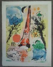 "Vintage 60s Silkscreen RARE Print MARK CHAGALL conehead Bright colors 17x23"""