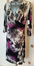 DRESS 20 48 XL PLUS FLORAL STRETCH RUCHED DRAPED TEA WEDDING OCCASION OFFICE