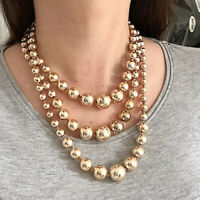 Vintage Jewellery Necklace 1950s Goldtone Graduated Beads Clasp Multi-Strand