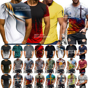 Fashion Men Funny 3D Print T-Shirt Summer Casual Short Sleeve Tops Graphic Tee
