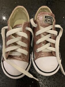 Girls Rose Gold Lace Up Converse Toddler Size 8
