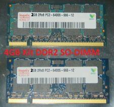 2x2GB= 4GB KIT DDR2 RAM Notebook Speicher SO-DIMM PC2-6400S 800MHz 1.8V 2Rx8 CL6