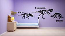Dinosaur Skeletons Triceratops T-Rex wall art sticker kit decal boy's bedroom