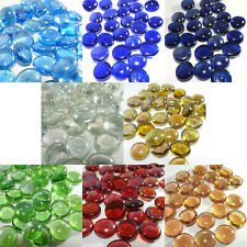 GLASS FLAT STONES / PEBBLES - 15mm to 22mm - 8 COLOURS TO CHOOSE FROM - NEW
