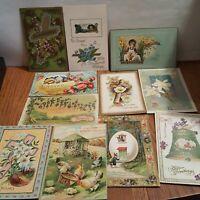 11 Vintage Easter Paper Ephemera Postcards Greeting Cards Embossed Bunnies Cross