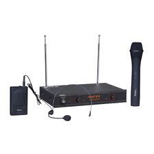 Ibiza SONIDO VHF de Doble Canal Inalámbrico Sistema Portátil de micrófono y auriculares micrófono de radio
