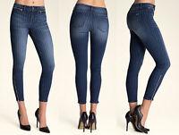 Women Denim Laser Printed Zipper Skinny Jeans Stretch Pants Low Rise Slim