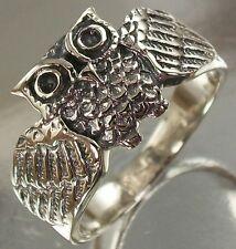 925 Sterling Silver Owl Design Ring US 8 3/4 AU R oxidised, Band Width 2.2mm