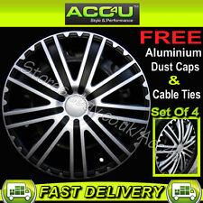 "13"" Black Silver 9 Spoke Car Wheel Trims Hub Cap Covers"