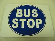 BUS STOP Metal BLUE Sign Pharmacy Bar Greyhound Station Vintage Art Deco Dog