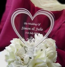 Engraved wedding cake toppers personalised heart gift