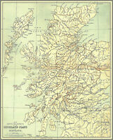 Map showing the Districts of the Highland Clans of Scotland Art Poster Print