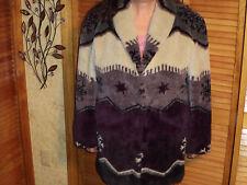 Beautiful ART FUR faux fur snowflake white purple black art winter coat!!